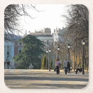 Stroll in the park of the Retirement, Madrid Square Paper Coaster