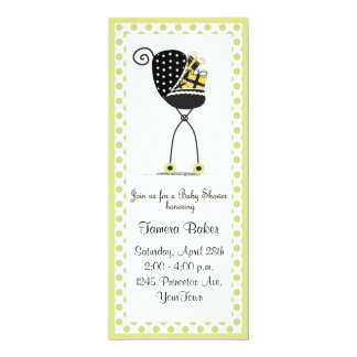 Stroller Baby Shower 10 Cm X 24 Cm Invitation Card
