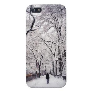 Strolling A Snowy City Sidewalk iPhone 5 Covers