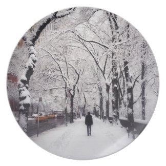 Strolling A Snowy City Sidewalk Plate