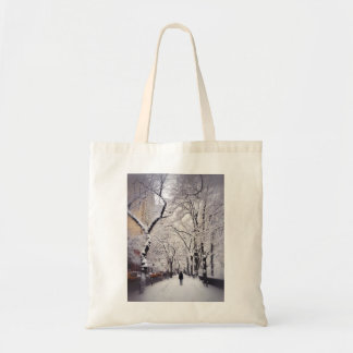 Strolling A Snowy City Sidewalk Tote Bag