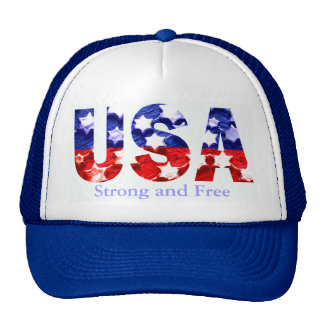 Strong and Free USA Flag Cap Trucker Hat