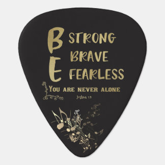Strong, Brave, Fearless Quote with Bible Verse Plectrum