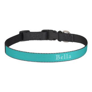 Strong Cyan White Lettering Custom Name Pet Collar