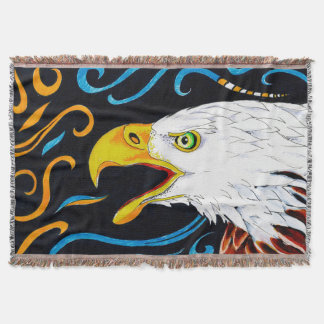 Strong Eagle Ink Art Throw Blanket