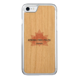 Strong. Free. Polite. Canada wood case