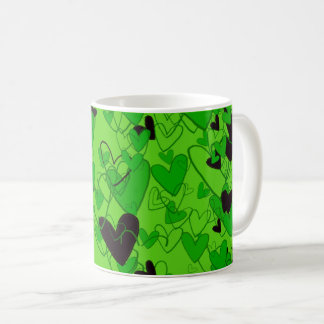 Strong Fresh Green Hearts Pattern Ladylike Chic Coffee Mug