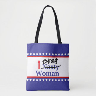 Strong Nasty Woman With Stars and Stripes Tote Bag