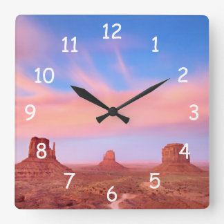 Strong Winds over Desert Valley Square Wall Clock