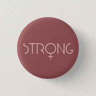 strong, woman, pink 3 cm round badge