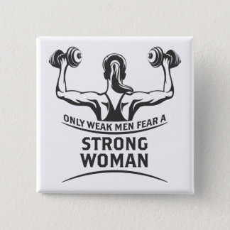 Strong Woman Square Button