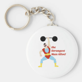 Strongest Man Basic Round Button Key Ring