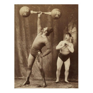 Strongman and Friend Postcard
