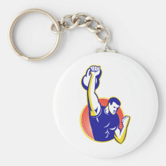 Strongman Lifting Kettlebell Weight Retro Basic Round Button Key Ring