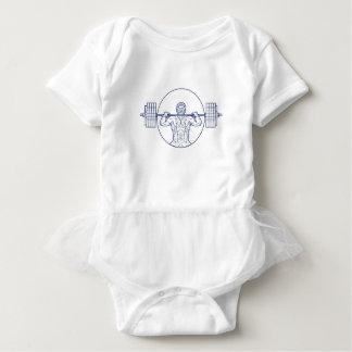 Strongman Lifting Weight Mono Line Baby Bodysuit