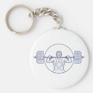 Strongman Lifting Weight Mono Line Basic Round Button Key Ring