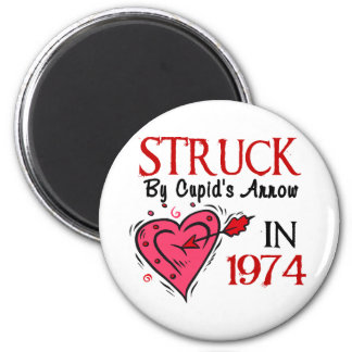Struck With Cupid's Arrow In 1974 6 Cm Round Magnet