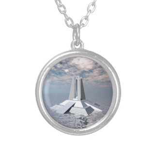 Structural Tower of Atlantis Silver Plated Necklace