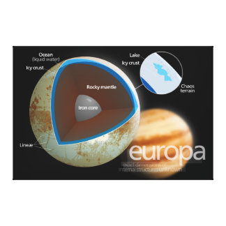 Structure and Features of Europa Moon Diagram Gallery Wrap Canvas