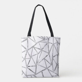 Structure of triangles with a collage of fonts tote bag