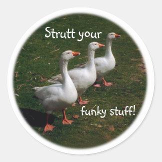 Strutt your funky stuff! classic round sticker