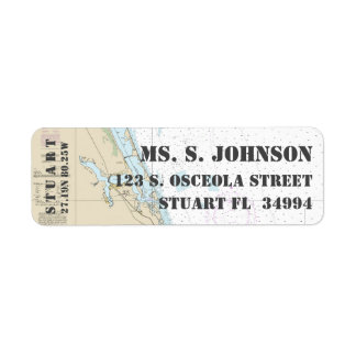 Stuart FL Home Port Nautical Navigation Chart Return Address Label