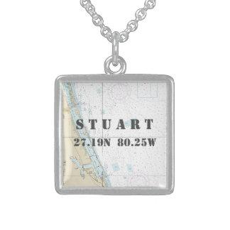 Stuart FL Home town Latitude Longitude Nautical Sterling Silver Necklace