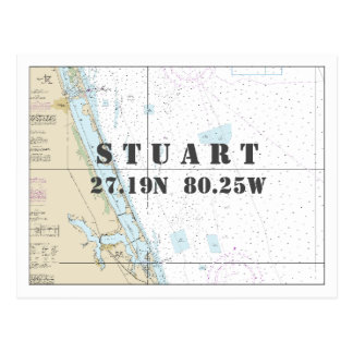Stuart FL Nautical Chart Latitude Longitude Postcard