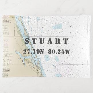 Stuart FL Nautical Chart Latitude Longitude Trinket Trays
