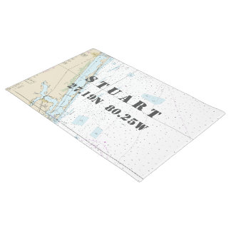 Stuart Florida Latitude Longitude Nautical Boating Doormat