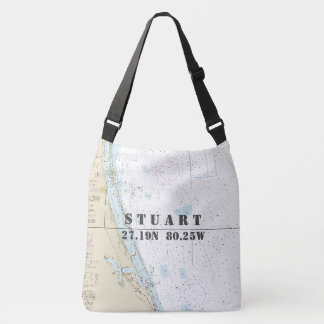 Stuart Florida Latitude Longitude Nautical Theme Crossbody Bag