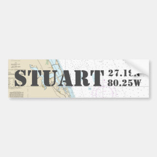 Stuart Florida Latitude Longitude Navigation Chart Bumper Sticker