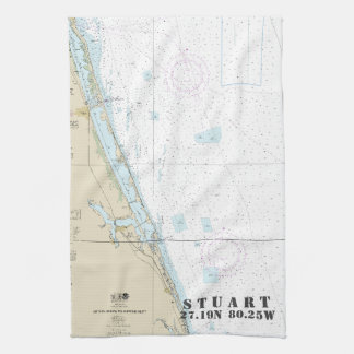 Stuart Florida Nautical Chart Latitude Longitude Tea Towel