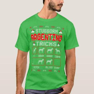 Stubborn Argentino Dog Tricks Christmas Ugly Shirt