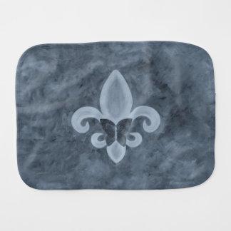 Stubborn Baby | Denim Blue Butterfly Fleur de Lis Burp Cloth