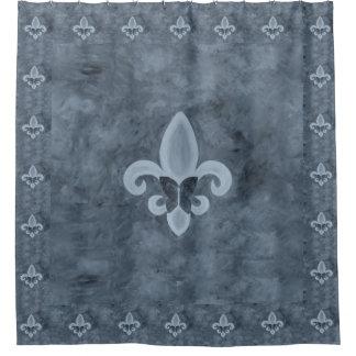Stubborn Bath | Denim Blue Fleur de Lis Butterfly Shower Curtain