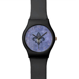 Stubborn Bling   Periwinkle Fleur de Lis Butterfly Watch