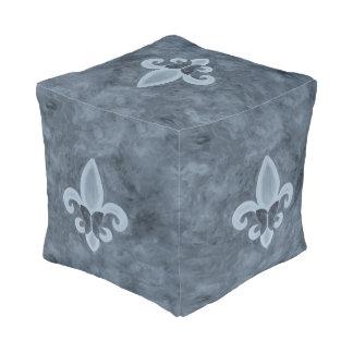 Stubborn Decor Denim Blue Fleur de Lis Butterfly Pouf