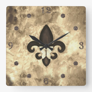 Stubborn Decor   Sepia Brown Butterfly Fleur d Lis Square Wall Clock