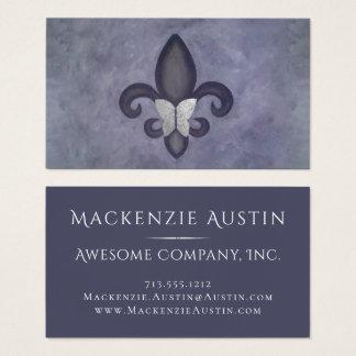 Stubborn Office | Purple Butterfly Fleur de Lis Business Card