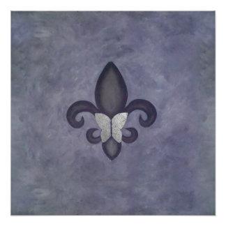 Stubborn Original Purple Butterfly Fleur de Lis Poster