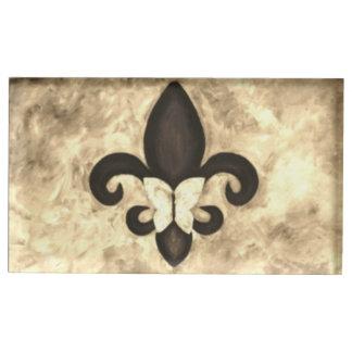 Stubborn Party | Sepia Tan Fleur de Lis Butterfly Place Card Holder