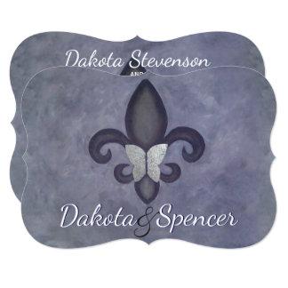 Stubborn Purple Fleur de Lis Silver Butterfly Card