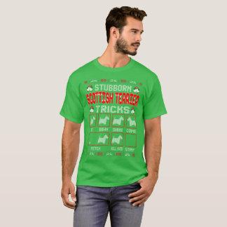 Stubborn Scottish Terrier Tricks Christmas Ugly T-Shirt