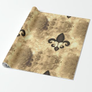 Stubborn Sepia Antique Brown Butterfly Fleur d Lis