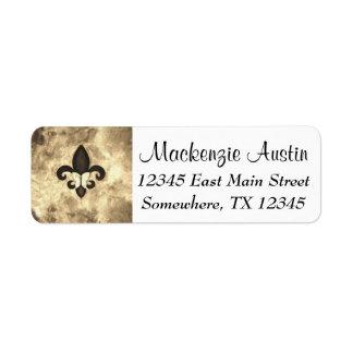 Stubborn Sepia Antique Brown Butterfly Fleur d Lis Return Address Label