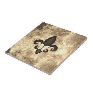 Stubborn Sepia Antique Brown Butterfly Fleur d Lis Small Square Tile