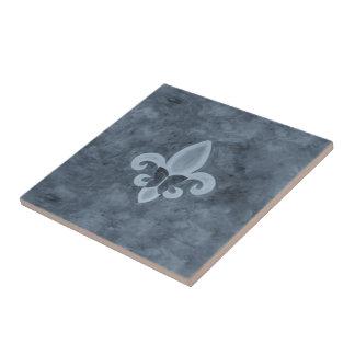 Stubborn Smoky Denim Blue Fleur de Lis Butterfly Small Square Tile