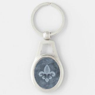 Stubborn Stylish Denim Blue Fleur de Lis Butterfly Key Ring