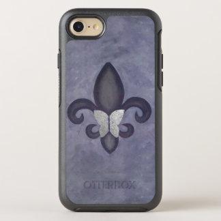 Stubborn Tech | Purple Butterfly and Fleur de Lis OtterBox Symmetry iPhone 8/7 Case